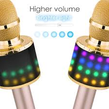 Bright Lights Vocal Pack Bonaok Wireless Bluetooth Karaoke Microphone With Controllable Led Lights Portable Handheld Karaoke Speaker Machine Christmas Birthday Home Party For