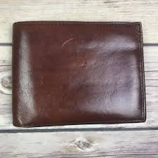 details about bosca mens old leather continental id trifold billfold wallet brown