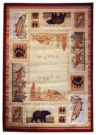 paw print rug stylish deer area rugs wilderness lodge bear fish design beige color