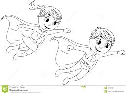 Small Picture Happy Superhero Kid Kids Flying Isolated Coloring Page Stock