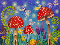 free acrylic tutorial mushrooms fairy garden painting live step by step by angela anderson on