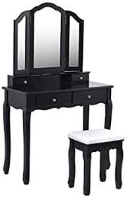 giantex tri folding mirror bathroom vanity makeup table stool set home furni with 4 drawers