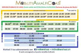 path of the s mobility amalfi coast bus timetable from positano to nocelle and positano to praiano valid from 07 january 2018 to 31 march 2018
