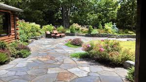 Garden Design Patio With Concrete Tiles Material And Wooden House Magnificent Exterior Garden Design