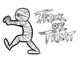 Small Picture Mummy Trick or Treat Free Coloring Page Download Print Online