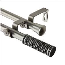 brushed nickel straight double shower curtain rod