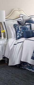 Haveford/Blue and white headboard, bed and linens