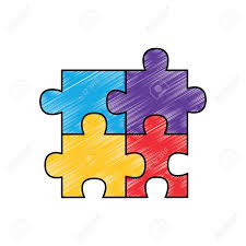 Four Pieces Puzzle Jigsaw Game Element Vector Illustration Drawing