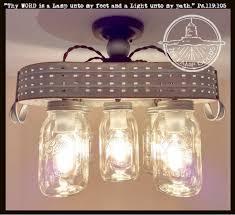 Galvanized Mason Jar Ceiling Light with Olive Basket