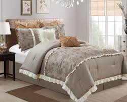 thalia by chezmoi collection 8 piece embroidered roses faux linen medium taupe bedding comforter set bedding collections