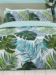 tropical palm leaves single duvet cover