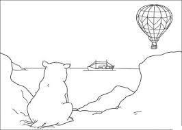 Kleine Ijsbeer Kijkt Naar De Horizon Met Schip En Luchtballon