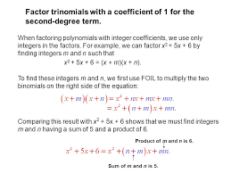 16 factor trinomials with a coefficient