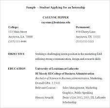 Internship Resume 9 Free Samples Examples Format