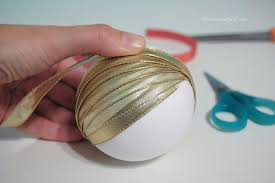 How To Decorate Styrofoam Balls handmade ribbon wrapped Christmas ornament ball DIY The 23