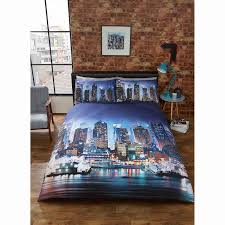 new york city double duvet cover bed bedding set pillowcase night skysers image