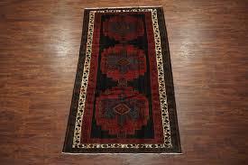Carpet Design Gallery Persian 5x10 Gallery Runner Black Kurdish Design 1940s Hand Knotted Wool Rug Ebay