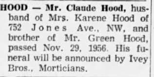 Obituary for Claude HOOD - Newspapers.com