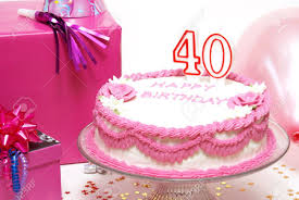 A 40th Birthday Cake To Celebrate Someones Special Day Stock Photo