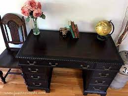 the leather top on a vintage desk