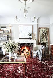 red oriental rug living room with fringe