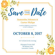 Yellow Floral Bordered Save The Date Invitation Templates By Canva