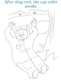 Small Picture Cap seller story coloring page for kids 14