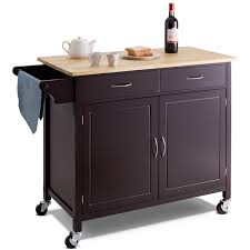 costway modern rolling kitchen cart island wood top storage trolley cabinet utility new 0