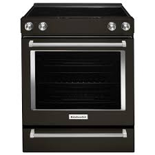 kitchenaid 6 4 cu ft slide in electric range in black stainless