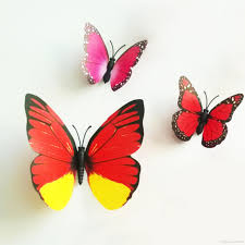 3d Butterfly Wall Decor Colorful Design Art 3d Butterfly Wall Stickers Wall Decor Plastic