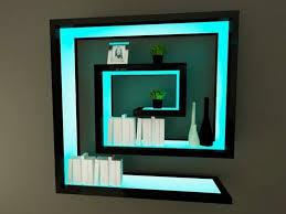 black wall shelves with blue cyan light fancy decoration of black wall shelves with wall shelves