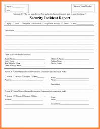009 Security Incident Report Template 20fire Form Doc