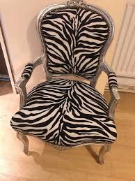 french louis shabby chic zebra print chair with silver frame