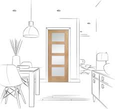 shaker 4 light internal oak door with obscure glass lifestyle line drawing