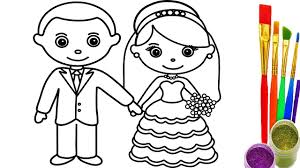 Small Picture How to Draw Little Bride and Groom Coloring Pages Videos for