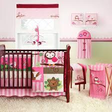 pink owl crib bedding set