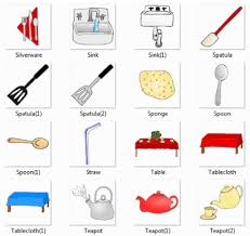 kitchen utensils names. Silverware, Sink, Spatula, Sponge, Spoon, Straw, Table, Tablecloth, Teapot Kitchen Utensils Names D