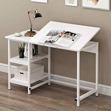 Great CherryTree Furniture Computer Desk Drafting Table With Shelves (White)