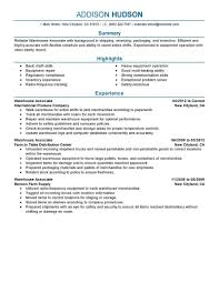 Example Of A Warehouse Resume Examples Of Resumes