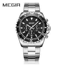 MEGIR Business Quartz Clock Watch Men <b>Stainless Steel Army</b> ...