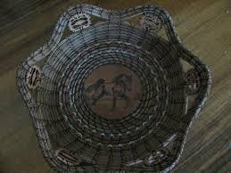 Wood Burnt Prancing Horse Pine Needle Basket Basket Basket 5f8484