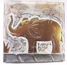 elephant hand painted wall panel rustic home decor wall art white