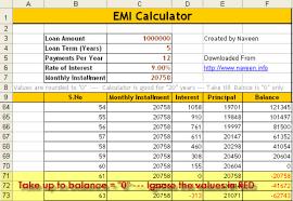 home loan interest calculator excel how to calculate emi download excel emi calculator