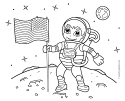 Spaceman On The Moon Coloring Pages