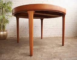 vintage retro 60s mid century modern danish round teak dining kitchen table
