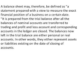 definitions of balance sheet pl account balance sheet