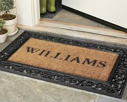 personalized front door matsPersonalized Rubber Scroll  Coir Doormats  Williams Sonoma