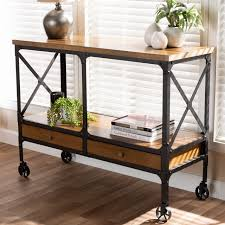 Baxton Studio Alves Vintage Rustic Industrial Style Wood And Bronze