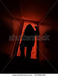 Scary Robber Shadow Man Coming Down Stock Photo Edit Now Shutterstock