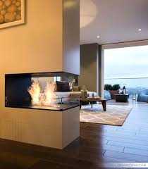 3 sided fireplace designs wood